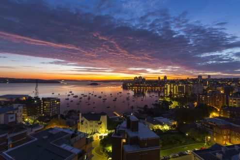 Twilight view of the Habour from The Macleay on Macleay Street Sydney