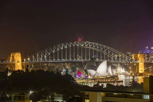 View of the Sydney Harbour Bridge from The Macleay Hotel in Potts Point